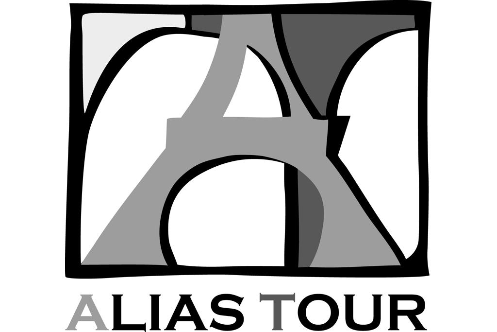Logo Alias Tour - šedé s textem
