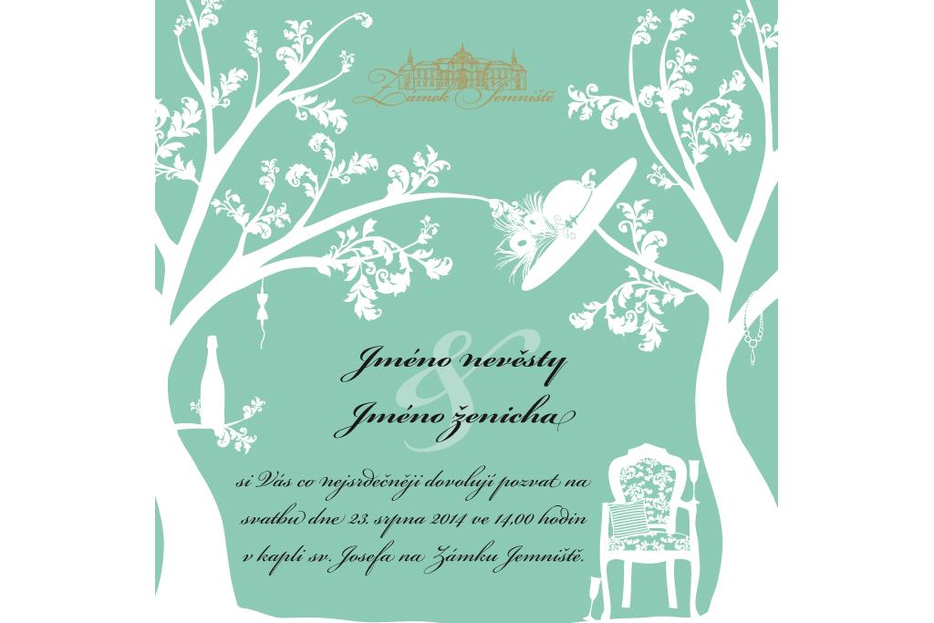 Zámek Jemniště - svatební oznámení (inverzní)